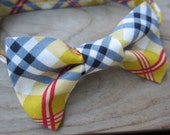 Boys Plaid Bow Tie- Toddler Plaid Bow Tie- Back to School Bow Tie- Adjustable Velcro Strap- gray, yellow, pink, white plaid