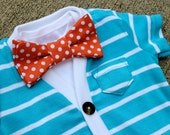 SALE Newborn Cardigan and Bow Tie Set - Light Blue with Orange Dot - Trendy Baby Boy - Perfect for Spring Shower