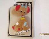 1950s vintage wooden bobble-headed doggy brooch, Made in Japan, collectible jewellery