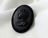 Antique Victorian Mourning Brooch Cameo