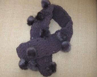 Purple Pompom Scarf