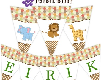 Safari Pennant Banner - Brown Polka Dot Jungle Animal, Lion, Elephant, Giraffe Personalized Birthday Party Banner - A Digital Printable File