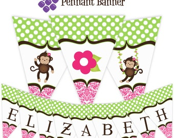 Mod Monkey Pennant Banner - Pink Damask, Green Polka Dots, Cute Flower Monkey Personalized Birthday Party Banner - A Digital Printable File