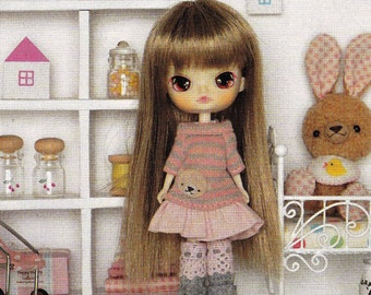 Petite Blythe Mini Pullip Dal Doll Cute Bear One Piece Dress and Boots Set pdf E TUTORIAL in Japanese and Pattern Template Titles in English