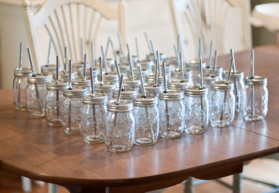 Set of 100 Stainless Steel Straws & set of 100 Mason Jar Lids And Rings  Tumbler DIY Weddings, Parties, Everyday Use