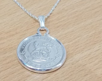1914 103rd Birthday / Anniversary sixpence coin pendant plus 18inch SS chain gift