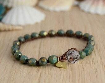 Turquoise, bronze crocheted bracelet. Bohemian stack bracelet