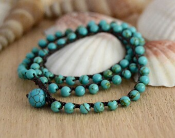 Turquoise and brown crochet bracelet. Surfer chic waterproof beach necklace