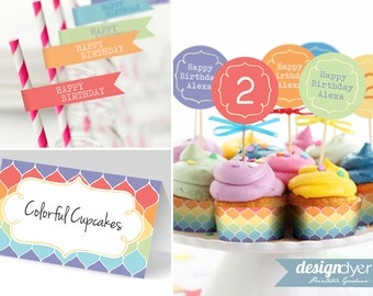 Printable Rainbow Birthday Party Package Personalized