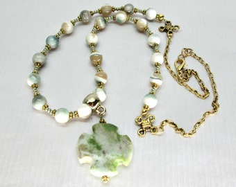 Green Oyster Shell Necklace with Green Turquoise Cross Summer Clearance 40% off