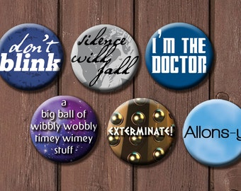Full 24 button Doctor Who set