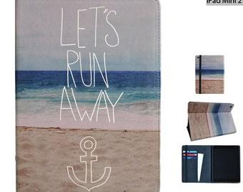 "iPad mini / iPad Mini 2 case from Create&Case ""Let's Run Away"" stylish, unique colourful vegan leather case photography beach"
