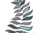 "SALE Turquoise & Black Fern Art Print 8""x10"""