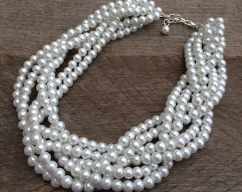 White Pearl Statement Necklace, Multi Strand Wedding Necklace, Chunky Braided Necklace on Silver or Gold Chain