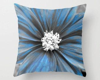 Blue Flower, Toss Pillow, Floral Print, Flower Pillow, Photo Pillow