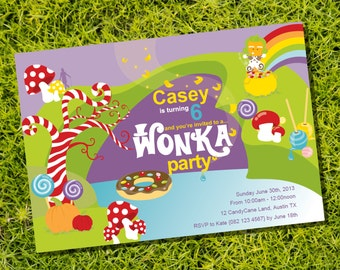 Willy Wonka Birthday Party Invitation - Instantly Downloadable and Editable File - Personalize at home with Adobe Reader