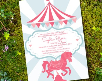 Carousel Party - Invitation Only - Instantly Downloadable and Editable File - Personalize at home with Adobe Reader