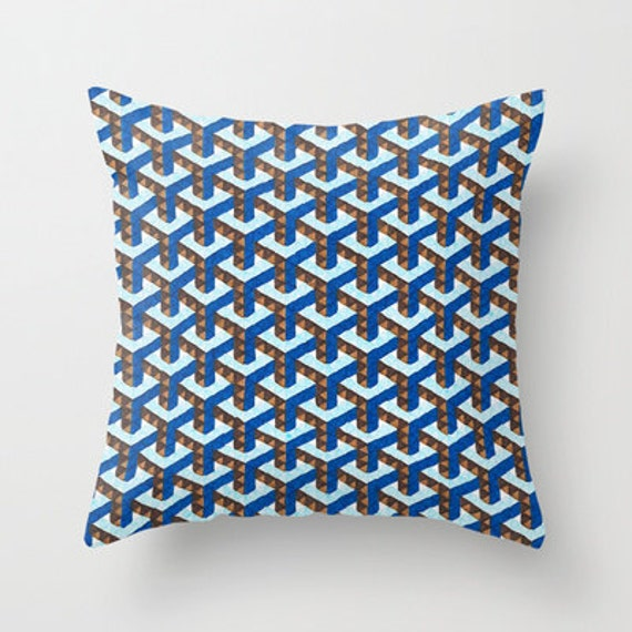 Light Blue And Brown Decorative Pillows : Items similar to Colorful Throw Pillow - Blue Ygoon - Throw Pillow Cover ,16x16, Blue and Brown ...
