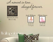 Family Wall Decal - Custom Wall Decal - A Moment In Time changed forever with set of names and dates - Family room - family room decor