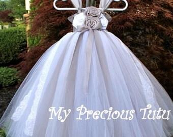 Silver and White Tutu Dress, Satin Rose Tutu Dress, Silver Flower Girl Dress, Gray Flower Girl Dress, Silver Tutu Dress by My Precious Tutu