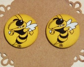 Extra Large Georgia Tech Button Earrings - Fabric Covered Button Earrings - Hypoallergenic Post - 1 1/8 inch