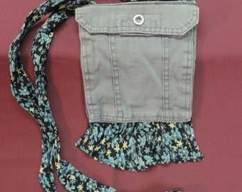 Small Grey with Ruffle Cross Body Purse, 2 Pockets, Snap closures, Upcycled/Recycled from Pant Pockets