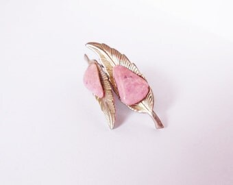 Vintage Feather and Pink Stone Earrings