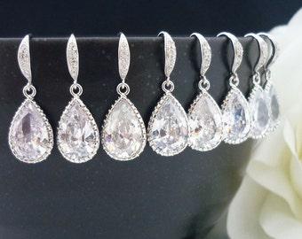 15% OFF SET of 8 Bridesmaid Gift Wedding Jewelry Bridal Jewelry Bridesmaid Jewelry Clear White Cubic Zirconia Tear Drop Earrings Sterling