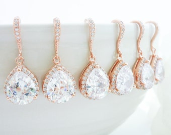 15 off set of 6 bridesmaid gift bridesmaid jewelry wedding jewelry bridal jewelry rose gold earrings lux cubic zirconia tear drop earrings sweetmelodyshop