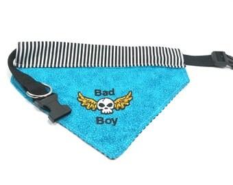 Bad Boy Dog Bandana with Collar, Embroidered Dog Bandana, Dog Accessories, Dog Clothing, Dog Bandana with Collar