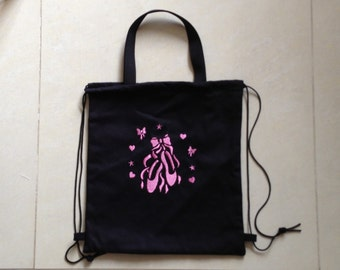 Ballet Drawstring Backpack-Ballet pattern-Dance bag-Embroidered cinch bag-embroidery lining tote bag