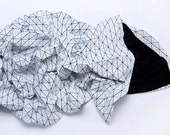 Black and white origami geometric throw 180x180 cm/ 70x70 inch. Printed origami plaid. Modern texture home decor accessory