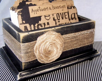 RECIPE BOX, Rustic Recipe Box, Bridal Shower, Live, Love, Laugh Dividers, Burlap, Distressed Black Box, Recipe Cards, Rustic Kitchen