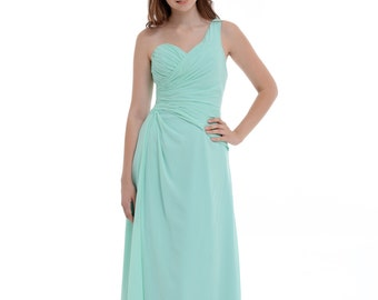 A-Line/Princess Mint One-Shoulder Floor-Length Chiffon Bridesmaid Dress With Ruffle