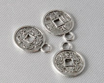20 pcs - 10mm Small Antique Silver Lucky Chinese Coin Charms
