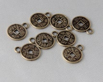 20 pcs - 10mm Small Antique Vintage Bronze Lucky Chinese Coin Charms