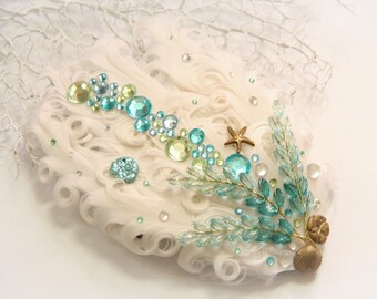 Mermaid's Reef mermaid hair clip, mermaid accessories, mermaid costume, beach wedding, mermaid headpiece, water fairy, seashell hair clip,