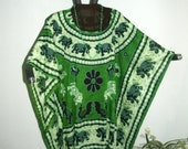 GREEN ELEPHANT TOP or Tunic with Black Elephants Marching all over - Fits everyone, maternity, plus size