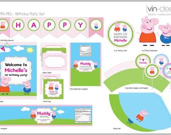 Peppa Pig Birthday Party Set - DIY Printable