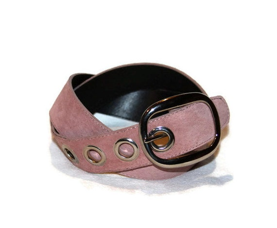 womens suede pink leather belt 1 1 2 wide size medium by
