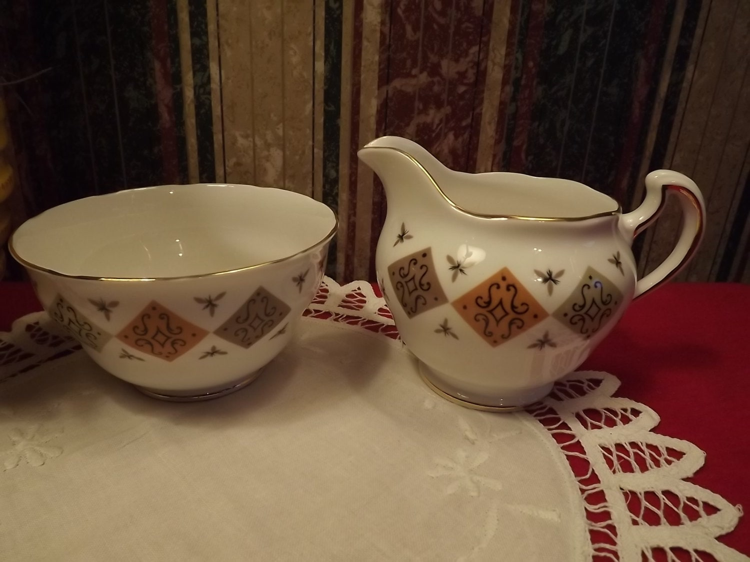1970s vintage colclough bone china footed cream and sugar 2 for Pottery patterns