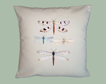 Vintage Colorful Dragonfly Insect  Handmade 16x16 Pillow Cover - Choice of Fabrics