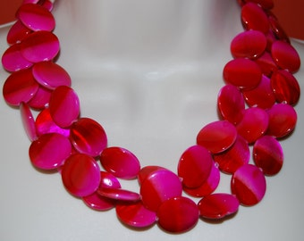 Fuchsia Pink and Red Statement Necklace Mother of Pearl Beaded Necklace and Earrings Set Multi-Strand Wedding Jewelry Bridesmaids Necklaces