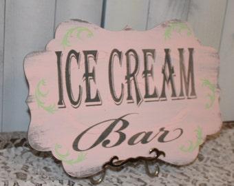 ICE CREAM Bar Sign//Photo Prop/Damask Fleur/Gray/Pink/Mint Green/U Choose Colors/Great Shower Gift