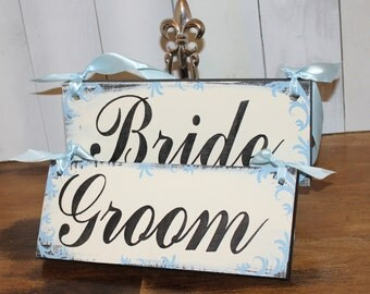 BRIDE - GROOM Chair Signs/Photo Prop/Xtra Fancy/Scrolls Damask/Great Shower Gift/Sky Blue/Ivory