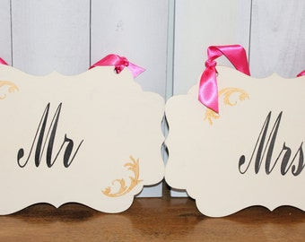 MR - MRS  Chair Signs/Bride and Groom/Scallop/Photo Prop/Reversible/Great Shower Gift/Black/Ivory/Gold/Hot Pink