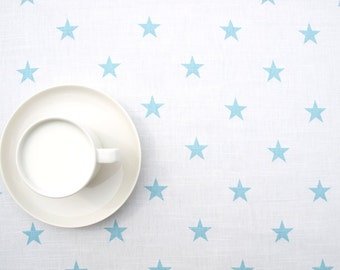 Blue Curtains blue curtains with white stars : Sky blue tablecloth – Etsy