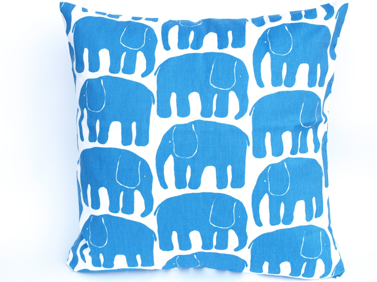 Decorative Pillow cover white bright blue Elephants by Dreamzzzzz