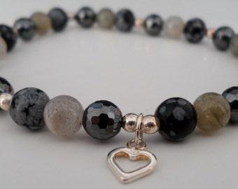 Hematite, Labradorite, Snowflake Obsidian & Silver s t r e t c h bracelet