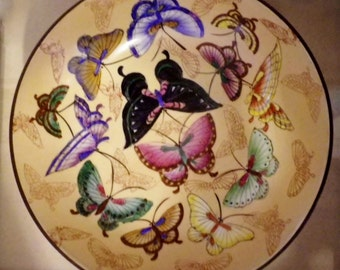 Butterfly Bowl Wall Hanging Paint China Bronze Asian Chinese decorative Hanger Brass metal porcelain insert Vintage Unique Back Marking Acd